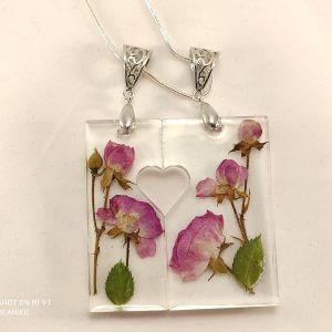 Pink rózsás nyakék duó nyaklánc