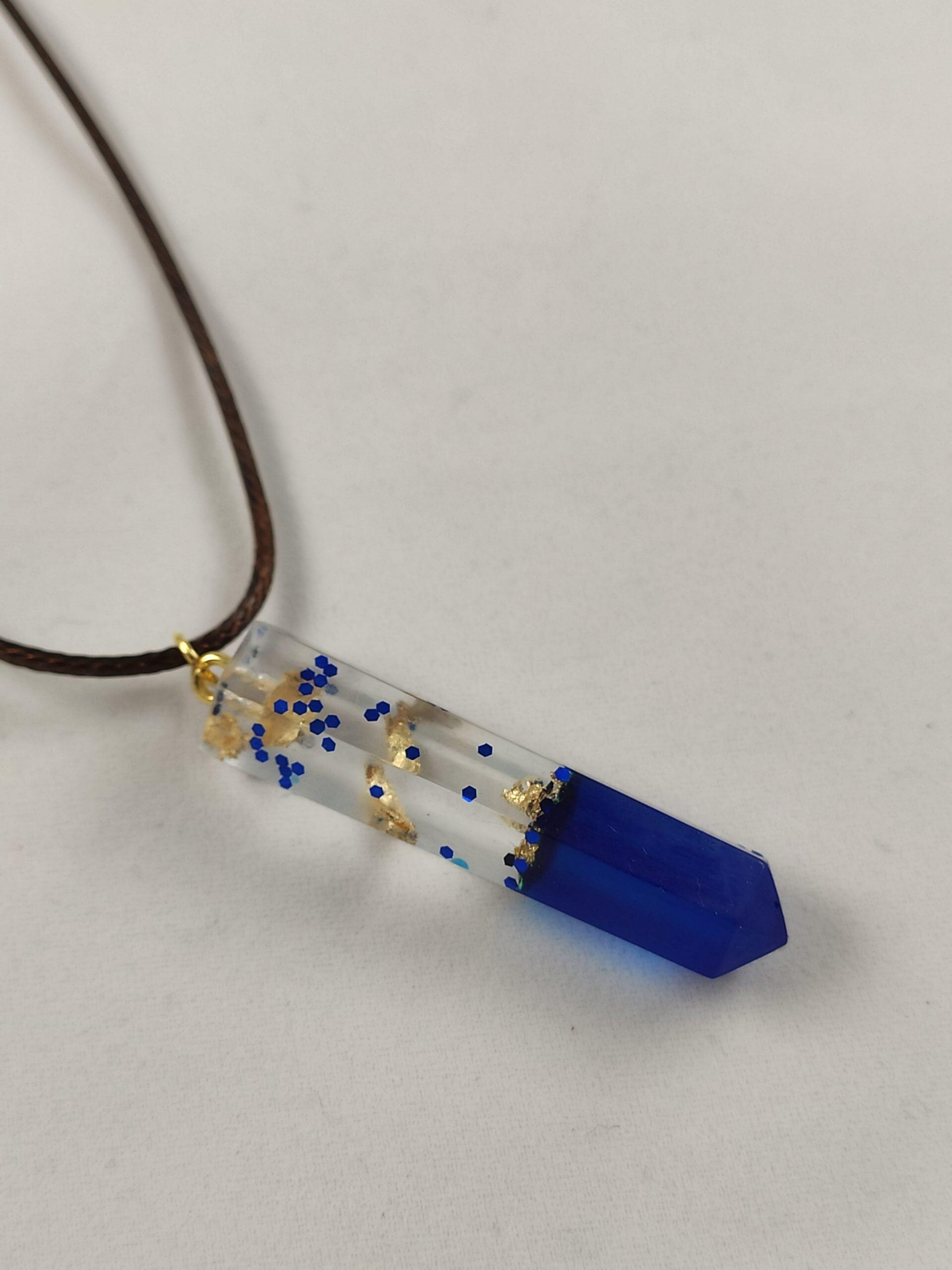 Kék-arany sokszög női nyaklánc