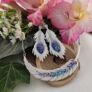 White peacock-páva szett női nyaklánc fülbevaló szett (fehér)
