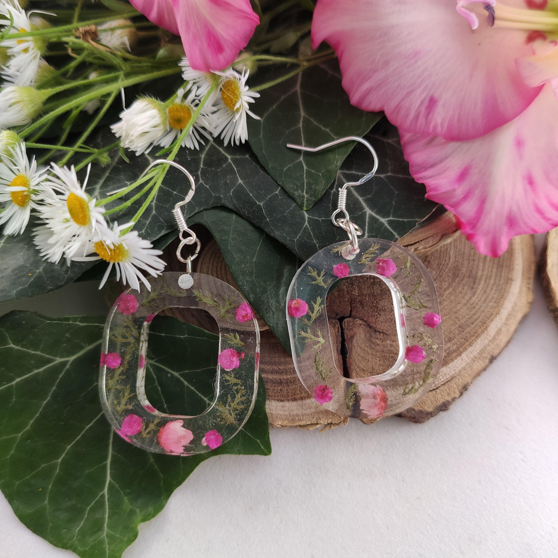 Pink virágos fülbevaló pár