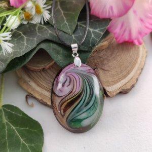 Purple & green twist ovális nyaklánc