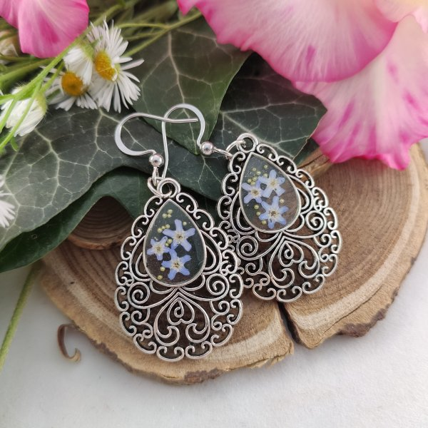 Antik hatású ezüst nefelejcs fülbevaló pár